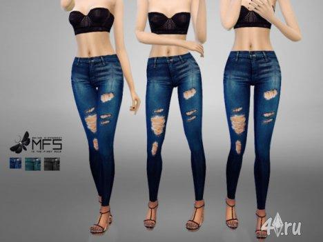 Порванные джинсы от Miss Fortune для The Sims 4