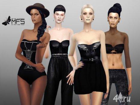 """Сет одежды """"Абсолютно черный"""" от Miss Fortune для The Sims 4"""