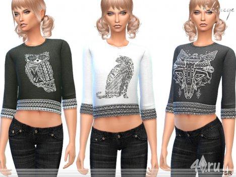 Топ с вышивкой от Еkinege для The Sims 4