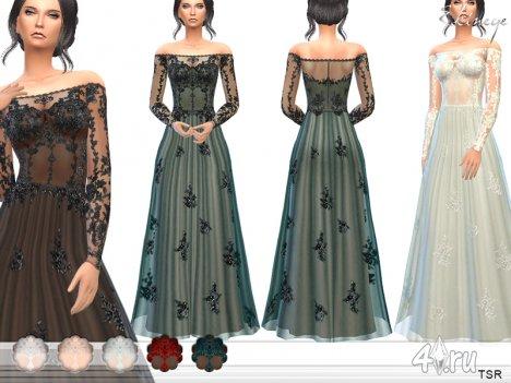 Прозрачное кружевное платье от Еkinege для The Sims 4