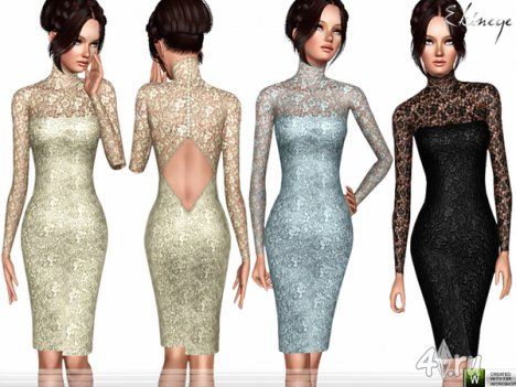 Кружевное платье с открытой спиной от Еkinege для The Sims 4