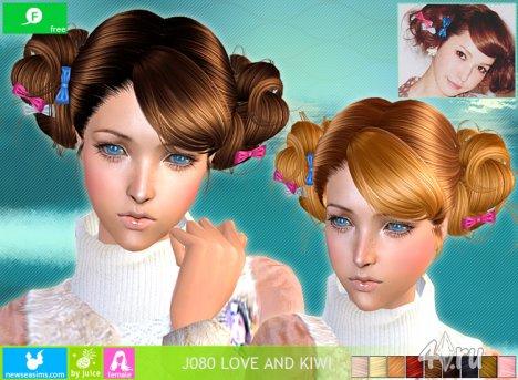"""Женская прическа """"Любовь и Киви"""" от NewSea для The Sims 2"""