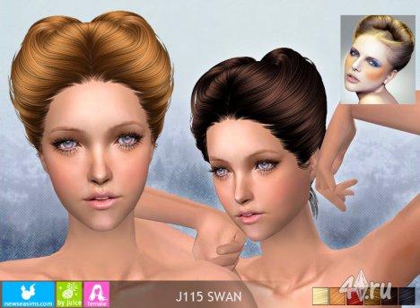 """Женская прическа """"Лебедь"""" от NewSea для The Sims 2"""