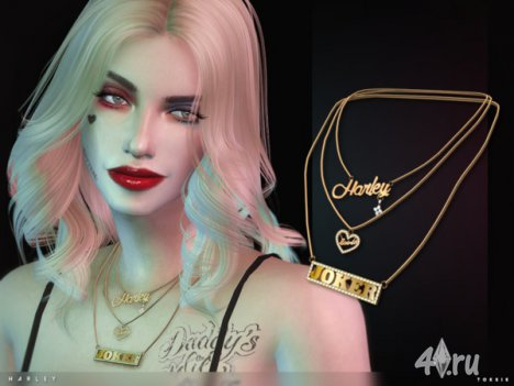 Ожерелье Харли Квин от Тoksik для The Sims 4