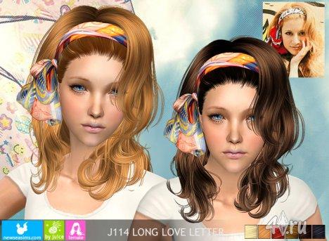 """Женская прическа """"Длинное любовное письмо"""" от NewSea для The Sims 2"""