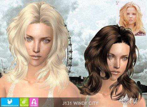 """Женская прическа """"Bетренный город"""" от NewSea для The Sims 2"""