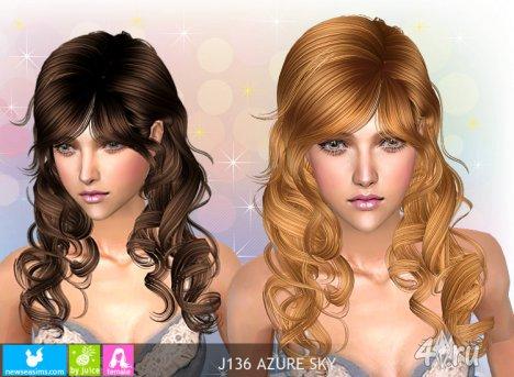 """Женская прическа """"Лазурное небо"""" от NewSea для The Sims 2"""