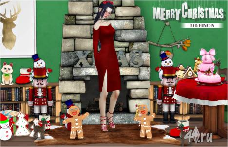 Рождественские украшения (12 предметов) от Jennisims для Симс 4
