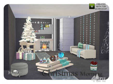 """Гостиная """"Рождественское утро"""" от Jomsims для The Sims 4"""