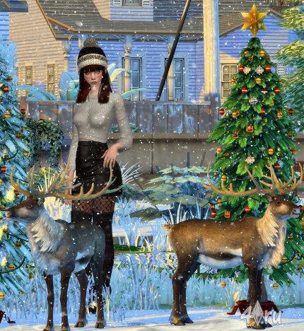 Новогодняя ёлка и олени от Jenni для Симс 4