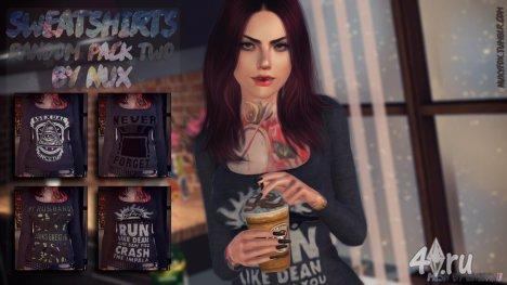 (Авторская работа) Второй пак свитшотов с принтом от Mercy (Nux) для Симс 3 в формате sims3pack
