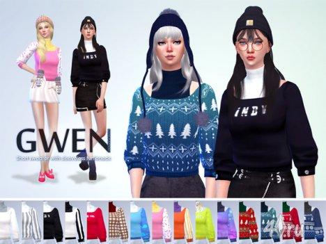 "Свитер с коротким рукавом ""Гвен"" от manueaPinny для The Sims 4"
