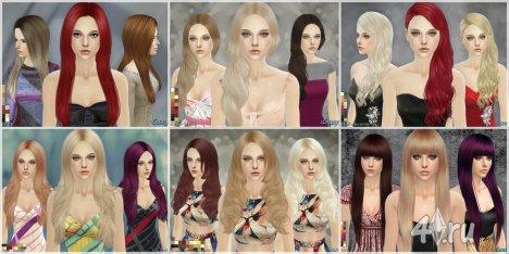 Сет женских причесок от Cazy для The Sims 4