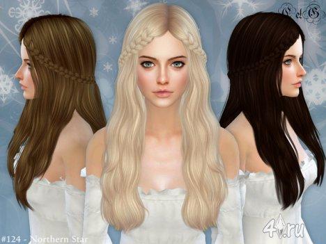 """Женская прическа """"Северная звезда"""" от Cazy для The Sims 4"""