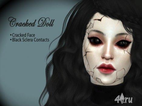Треснутое кукольное лицо от hutzu2 для The Sims 4