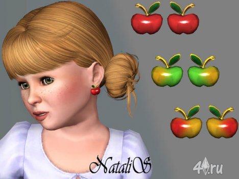 """Серьги для детей """"Яблоко"""" от Natalis для The Sims 3"""