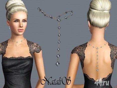 Ожерелье, падающее назад, от NataliS для The Sims 3
