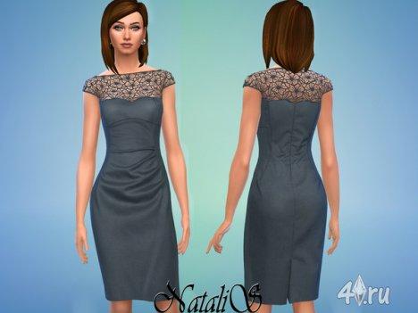 Платье с кружевной вставкой от Natalis для The Sims 4