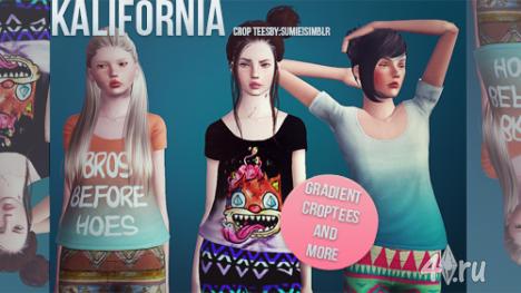 """Сет футболок """"Калифорния"""" от Sumiei для Симс 3"""