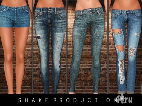 Сет с джинсами и шортами от Shake Productions для Симс 3