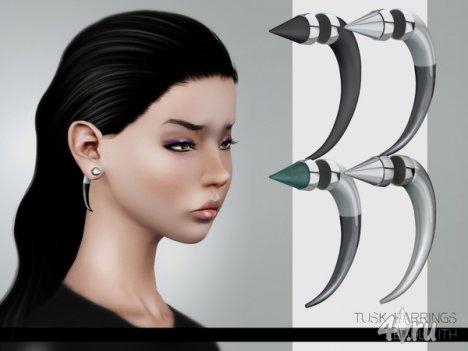 "Серьги ""Клык"" от Leah Lillith для Симс 3 в формате sims3pack"