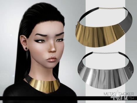 """Чокер """"Металлический"""" от Leah Lillith для Симс 3 в формате sims3pack"""