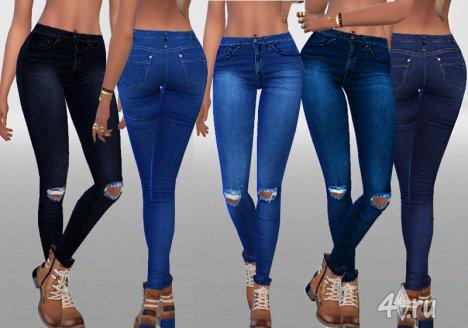 Тёмные рваные джинсы от Pinkzombiecupcakes для Симс 4