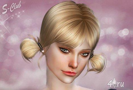 Женская причёска № 11 (с косичками) от S-club для Симс 4