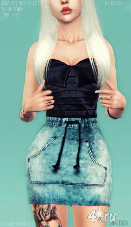 Авторская работа. Конвертированное платье MFS Dress Satin&Denim от Mercy для Симс 3 в формате sims3pack