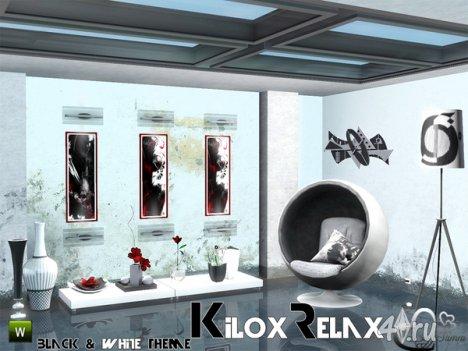 """Набор мебели и декора """"Kilox Relax"""" в стиле Black&White от BuffSumm для The Sims 3"""