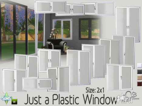 Сет пластиковых окон 2х1 от BuffSumm для The Sims 4