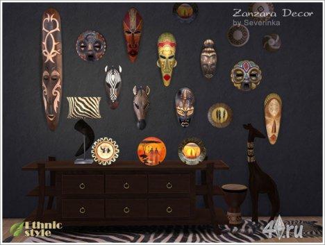 Сет декоративных украшений в этническом африканском стиле от Severinka для The Sims 4