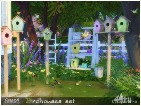 Декор скворечники и птички от Severinka для The Sims 4