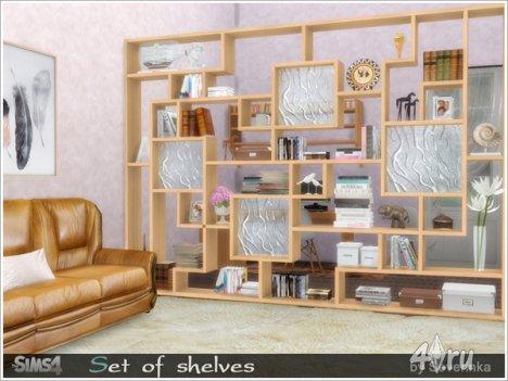 Сет полок в разных стилях от Severinka для The Sims 4