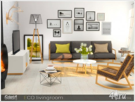 Гостиная в эко-стиле от Severinka для The Sims 4