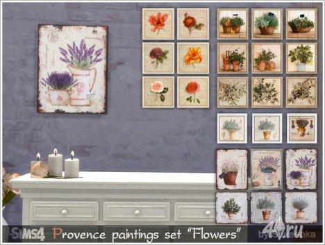 Сет картин в стиле прованс с изображением растений от Severinka для The Sims 4
