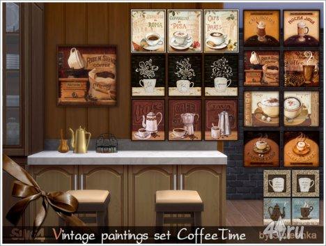 """Сет винтажных картин """"Время кофе"""" от Severinka для The Sims 4"""