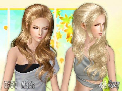 "Женская прическа ""Мари"" от Cazy для The Sims 2, The Sims 3"