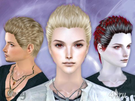 "Мужская прическа ""Пламя"" от Cazy для The Sims 2, The Sims 3"