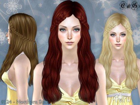 """Женская прическа """"Северная Звезда"""" от Cazy для The Sims 2"""