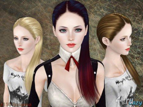 """Женская прическа """"Розанна"""" для взрослых и детей от Cazy для The Sims 3"""