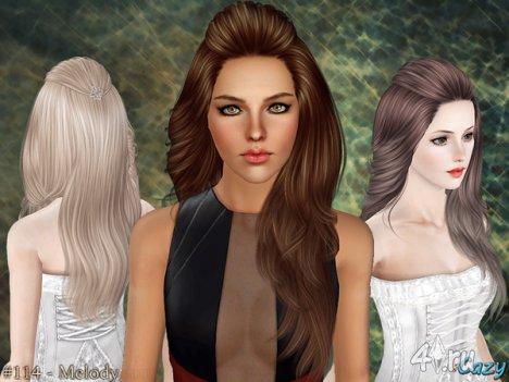 """Женская прическа """"Мелодия"""" для взрослых и детей от Cazy для The Sims 3"""