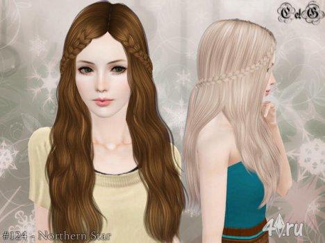 """Женская прическа """"Северная Звезда"""" для взрослых и детей от Cazy для The Sims 3"""