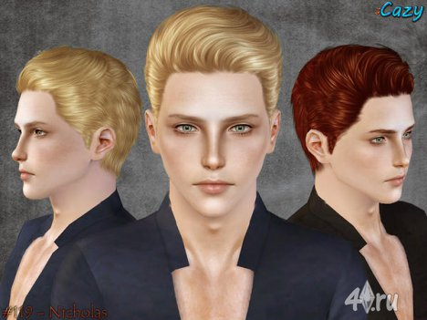 """Мужская прическа """"Николас"""" для взрослых и детей от Cazy для The Sims 3"""