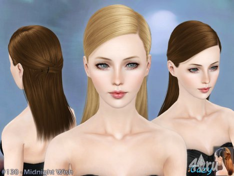 """Женская прическа """"Полуночное желание"""" для взрослых и детей от Cazy для The Sims 3"""