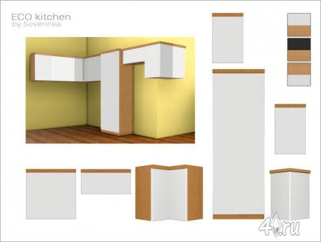 Набор мебели и декора для кухни в эко-стиле от Severinkа для The Sims 4