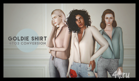 SLYD's goldie shirt 4 to 3 conversion by Deggdegg для Симс 3