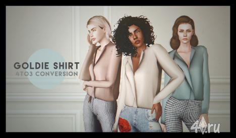 SLYD's goldie shirt 4 to 3 conversion by Deggdegg для Симс 3