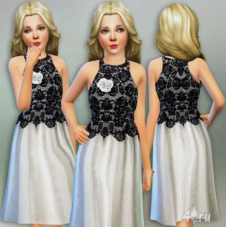 Вечернее безрукавное платье для Симс 4 от Lillka