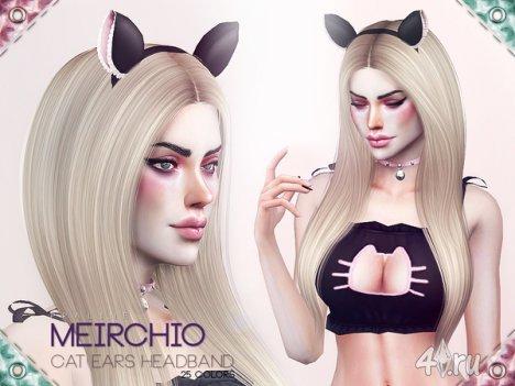 Ободок с кошачьими ушками от Pralinesims для The Sims 4